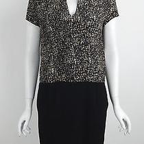 New Gerard Darel Silk Black Taupe Print Faux Wrap Short Sleeves Dress Sz 12 Nwt Photo