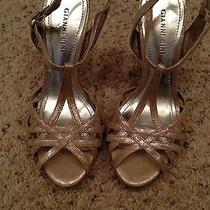 New Gianni Bini Blush Silver Strappy Open Formal Wedding Dress Shoes 7.5 Photo