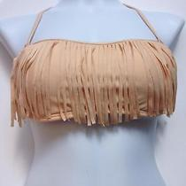 New Gianni Bini Halter Top Bikini Swimsuit Fringe Blush Beige Medium M Photo