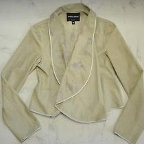 New Giorgio Armani Suede Leather Painted Jacket Size42 Photo