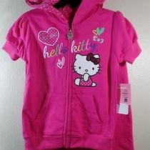 New Girl's 44 Hello Kitty 2 Pc Sparkly Fuschia Pink Hoodie Jacket & Pants Sz 4t Photo