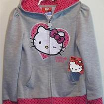New Girl's Hello Kitty Glittery Gray & Pink Light-Weight Hoodie Jacket Size 4 Photo