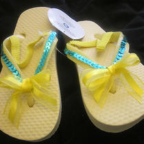 New Girl Shoe Size  M or Xl 7 8 11 12 Aqua Sequins and Yellow Bow Flip Flops Photo