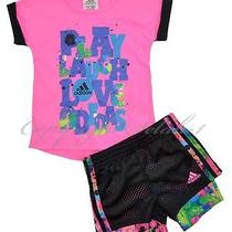 New Girls Adidas 2 Pc Outfit Shirt Short Set Bike Shorts Pink Black Size 3t Y Photo
