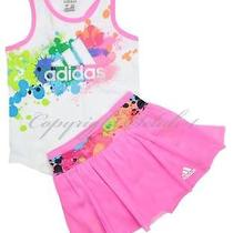 New Girls Adidas 2 Pc Outfit Shirt Tutu Set Bike Shorts Pink White Size 4t Y Photo