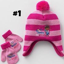 New Girls Hello Kitty Pony Mcstuffin Sofia Princess Winter Hat & Gloves Set Photo