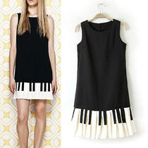 New Girls Love Moschino Fashion Piano Style Casual Summer Colour Matching Dress  Photo