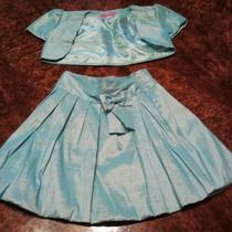 New Girls Shimmery Aqua 2 Piece Skirt Set Sz 5 Photo