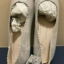 New Girls Silver Leather Suede Scallop Ballet Flats Shoes Gap Size 3 (33 Eur) Photo