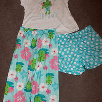 New Girls  Size 2t  3 Pc Pajama Set Flowers Frogs Aqua Carters Free Shipping  Photo