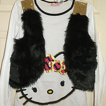 New Girls Size Xl Hello Kitty Shirt Faux Fur Attached Vest Long Sleeves Photo
