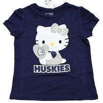 New Girls Toddlers Hello Kitty T-Shirt Huskies Heart Blue Uconn Shirt 4t Photo