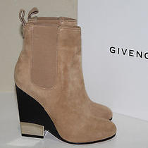 New Givenchy Camel Beige Suede Ankle Bootie Wood Wedge Heel Shoes Sz 9.5 / 39.5 Photo