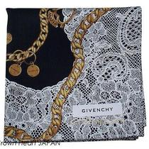 New Givenchy Handkerchief / Mini Scarf Lace Charm Chain  Black - Japan Ltd Rare Photo