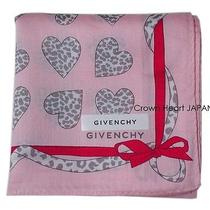 New Givenchy Handkerchief / Mini-Scarf Leopard Heart Ribbon Pink Jp-Licensed Photo