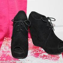 New Glaze Camilla Black Peeptoe Lace Up Wedge Ankle Booties Boots Shoes Sz 6 Photo