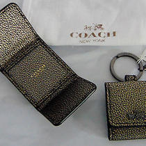 New Gold Black Pebbled Leather Coach Key Fob Chain Ring Picture Money Wallet Nwt Photo