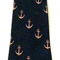 New Golden Anchors Navy Blue Background Necktie Neck Tie Steven Harris Sleeved Photo