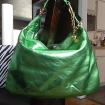 New Gorgeous Juicy Couture Green Metallic Leather Hobo Handbag-Fabulous Photo