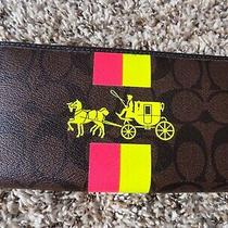 New Gorgeous Neon Pink & Yellow Coach Signature Wallet Lg Photo
