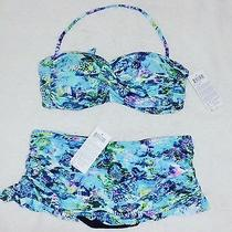 New Gottex Profile 2-Piece Swimsuit Swimskirt Bikini Nwt 156 Sz 12 Bandeau E203 Photo