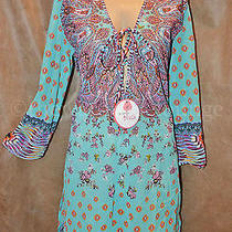 New Gottex Profile Blush Mesh Printed Caftan Swimsuit Cover-Up Blue 88  Photo