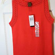 New Grace Element Top Shell Sleeveless Orange Sweater Crochet Cotton Nylon Small Photo