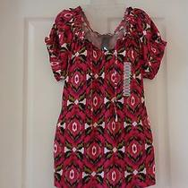 New Grace Elements Boho Hippy Off Shoulder 100% Cotton Knit Top Size L Fuchsia  Photo