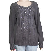 New Grace Elements Ladies Gray Rhinestone Trim Cable-Knit Sweater Size Large Photo