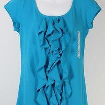 New Grace Elements Ruffle Front Top M Medium Blue Teal Free Shipping  Photo