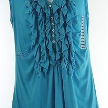 New Grace Elements Ruffle Front Top M Medium Nwot Turqoise Free Shipping  Photo