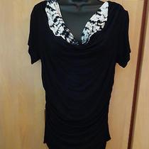 New Grace Elements Size Xl Short Sleeve Cowl Neckline Black  Photo