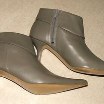 New Grey Imitation Leather Pointy Toe Cuffed Top Mid Heel Ankle Boots Sz 8.5 Photo