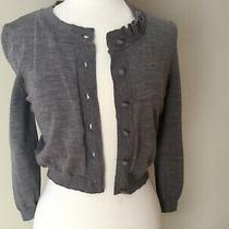 New Grey Red Valentino Cropped Top Cardigan With Ruffle...sz Xs Photo