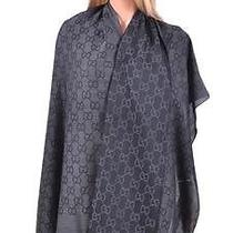 New Gucci 165903 Xl Charcoal Grey Wool Silk Gg Guccissima Logo Scarf Shawl Wrap Photo