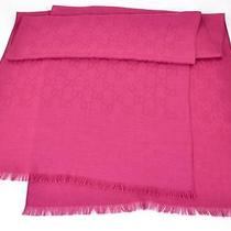New Gucci 165904 Magenta Pink Wool Silk Gg Guccissima Monogram Logo Scarf Photo