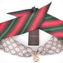 New Gucci 226581 Gg Guccissima Logo & Charm Red Green Stripe Silk Neck Scarf Photo