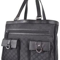 New Gucci 268639 Black Nylon Abbey Pockets Gg Guccissima Purse Bag Handbag Tote Photo
