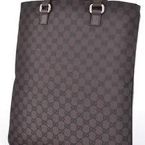 New Gucci 272347 Brown Canvas Gg Guccissima Slim Purse Travel Tote Shopper Photo