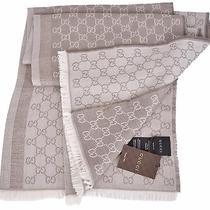 New Gucci 282390 Large Beige Taupe Wool Silk Gg Guccissima Logo Scarf Shawl Photo