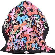 New Gucci 352212 Square Silk Black Multi Pearl & Bow Tie Twill Neck Scarf Photo