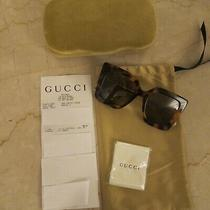 New Gucci Gg0435s 003 Havana Gold Brown Tortoise Square Sunglasses (Msrp 480) Photo