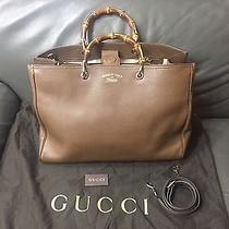 New Gucci  Large 'Bamboo Shopper' Leather Tote Green Wood Handle  Photo