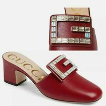 New Gucci Madelyn 36.5g Crystal G Red Leather Mules Slides Shoes 890 Authentic  Photo