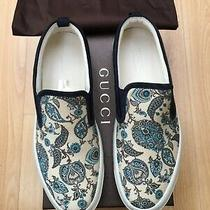 New Gucci Mens Blue Canvas Paisley Loafers Shoes Uk 10.5 44.5 Sneaker Boating Photo