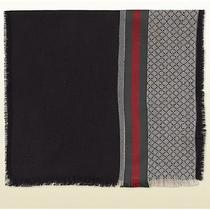 New Gucci Scarf W/ Diamante Pattern and Signature Web Detail - Retail 350 Photo