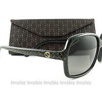 New Gucci Sunglasses Gg 3631/s Black Glitter Gold Dxfeu Authentic Photo