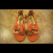 New Gucci Vince Camuto Coral Pink Leather Bow Sandals Flats 6.5 Photo