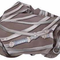 New Gucci Women's 233658 Dark Taupe Silk Tassel Gg Belt Pattern Neck Scarf Photo