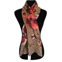 New Gucci Women's Large Wool Brown Coral Blooms Gg Scarf Shawl Wrap Photo